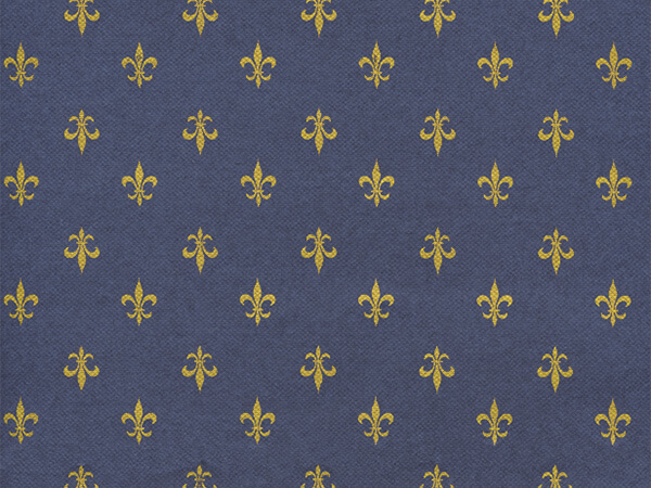 "Navy Blue Fleur De Lis 30"" x 417' Half Ream Roll Gift Wrap"