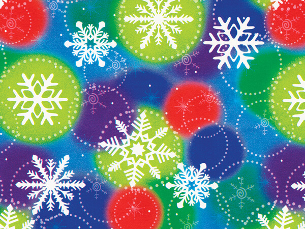 """Colorful Snowflakes Wrapping Paper 26"""" x 833', Full Ream Roll"""