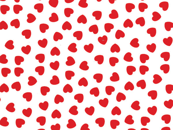 "Red Hearts on White Wrapping Paper 26"" x 417', Half Ream Roll"