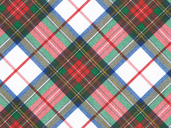 "White Plaid  30"" x 417' Half Ream Roll Gift Wrap"
