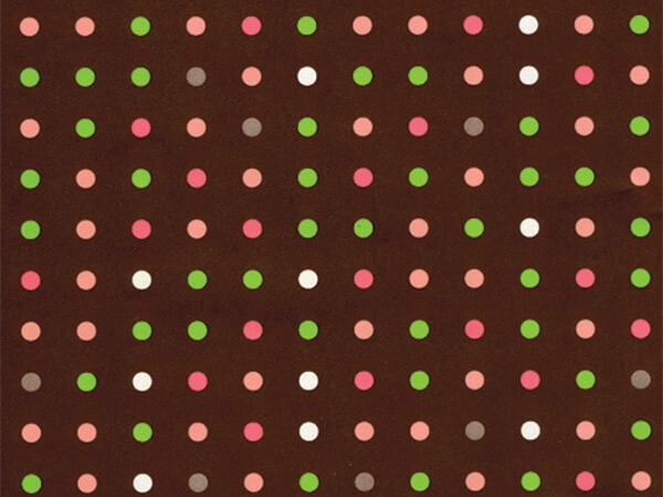 "Chocolate Polka Dots  24"" x 417' Half Ream Roll Gift Wrap"