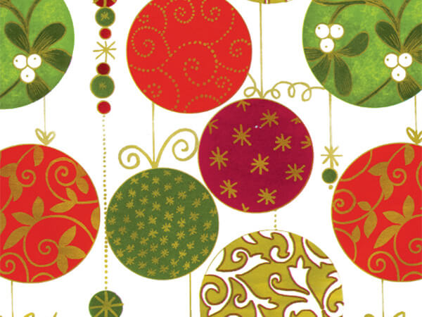"Florentine Ornaments  24"" x 417' Half Ream Roll Gift Wrap"