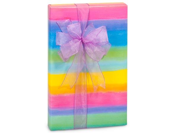 "Pastel Rainbow Stripe 30"" x 417' Half Ream Roll Gift Wrap"