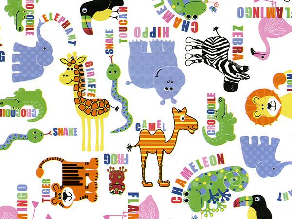 """Scattered Animals 18"""" x 833' Full Ream Roll Gift Wrap"""