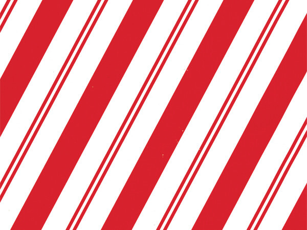"Cane Candy Stripe 30"" x 417' Half Ream Roll Gift Wrap"