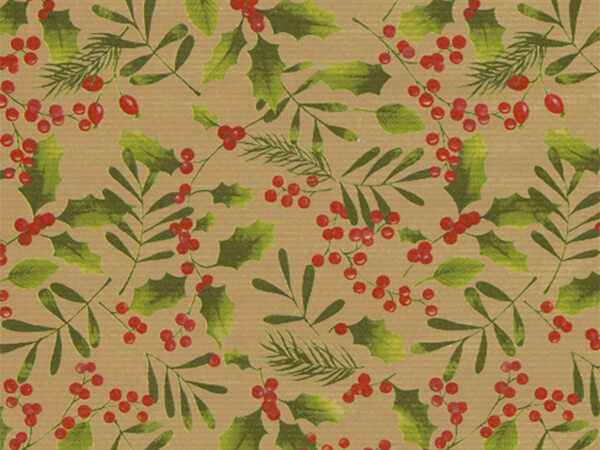 "Winter Greens  18"" x 417' Half Ream Roll Gift Wrap"