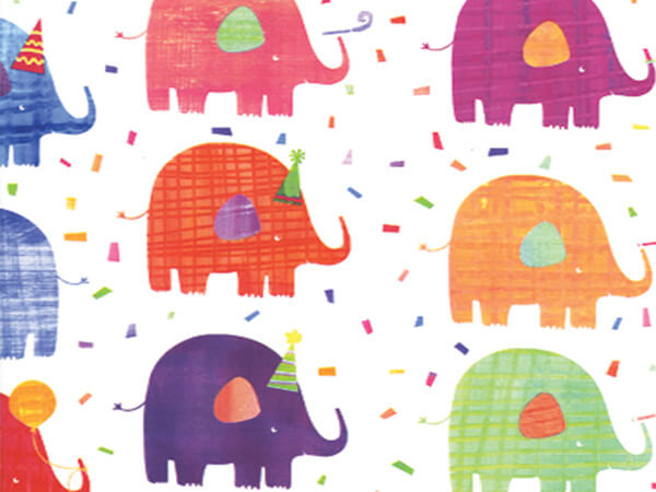 "Elephant Party  26"" x 417' Half Ream Roll Gift Wrap"