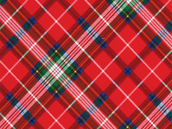 "Pris Plaid  30"" x 833' Full Ream Roll Gift Wrap"