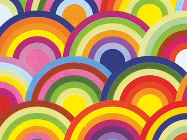 "Rainbow Circles  30"" x 417' Half Ream Roll Gift Wrap"