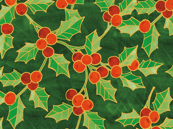 "Big Bright Holly  30"" x 417' Half Ream Gift Wrap (Metallized)"