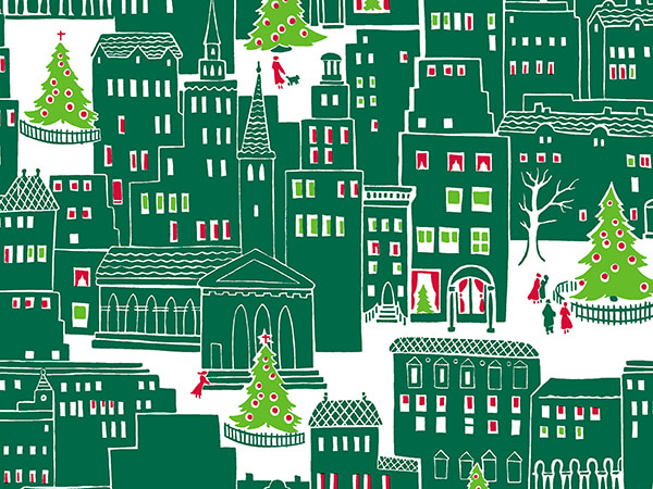 """Christmas in the City Wrapping Pape 24"""" x 417', Half Ream Roll"""