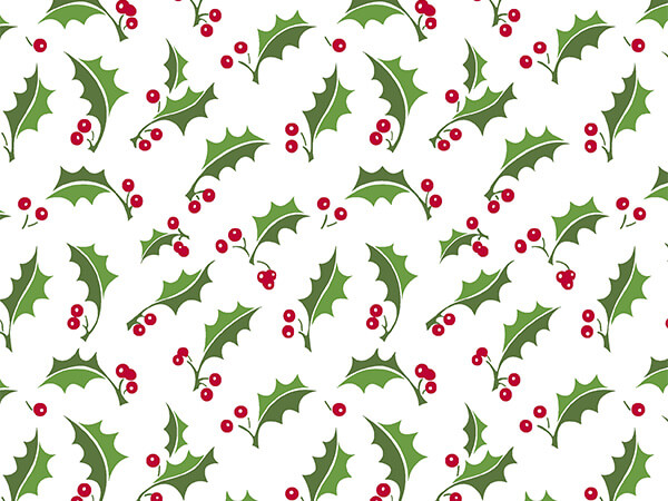"""Tuttle Holly 30"""" x 417' Half Ream Roll Gift Wrap"""