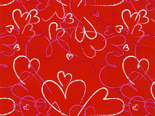 """Heart Toss  26"""" x 417' Half Ream Roll Gift Wrap"""