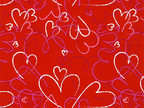 "Heart Toss Wrapping Paper 30"" x 417', Half Ream Roll"