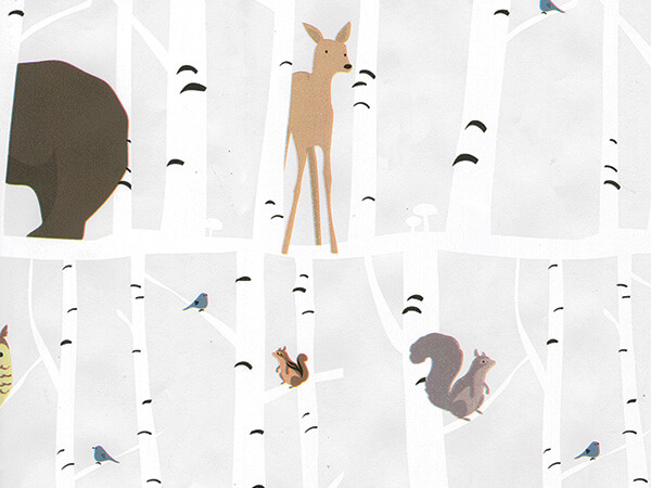 """Forest Animals Wrapping Paper 26"""" x 833', Full Ream Roll"""