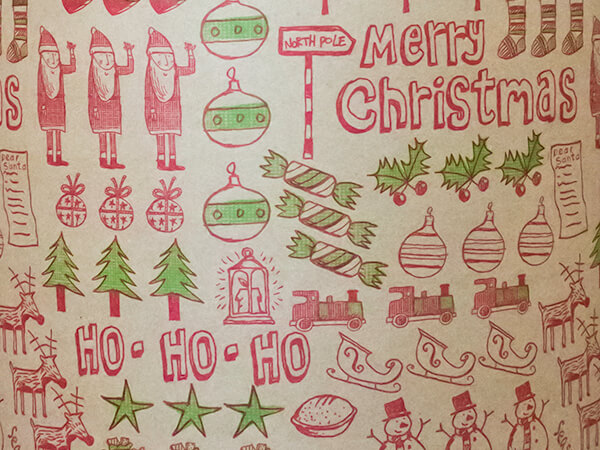 """Christmas Jumble Wrapping Paper 30"""" x 833', Full Ream Roll"""