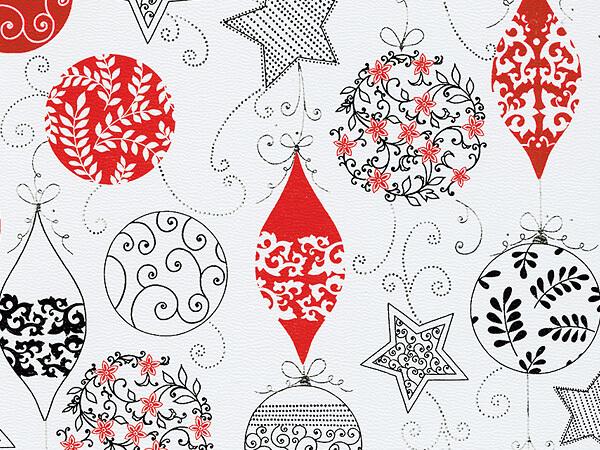 "Delicate Ornaments  30"" x 417' Half Ream Gift Wrap (Metallized)"