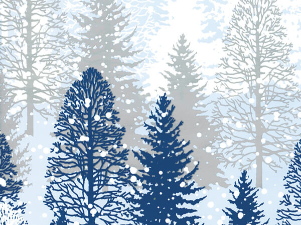 "Snowy Trees  30"" x 833' Full Ream Roll Gift Wrap"