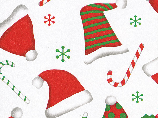 "Fun Santa Hats  24"" x 833' Full Ream Roll Gift Wrap"