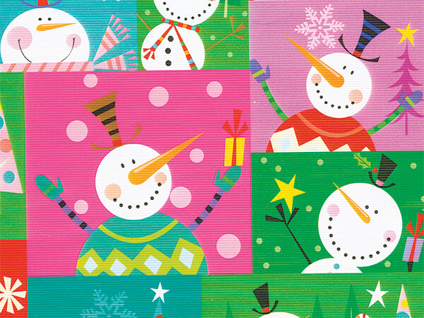 """Colorblock SnowMan Wrapping Paper 24"""" x 833', Full Ream Roll"""