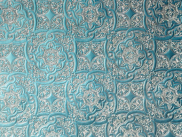 "Light Blue Medallion  26"" x 417' Half Ream Embossed Gift Wrap (Foil)"