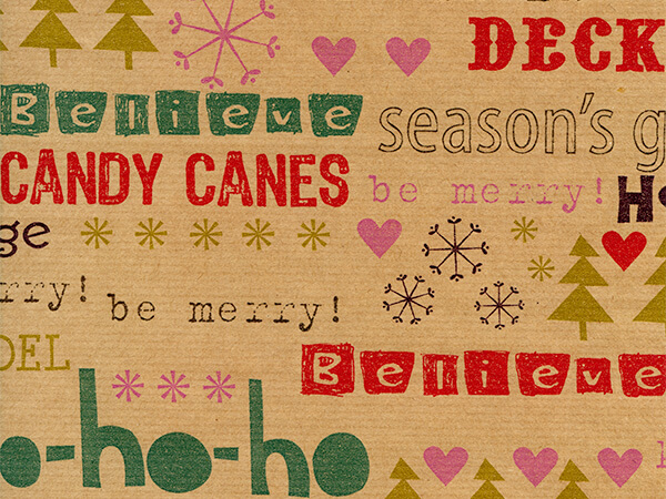 "Christmas Comments  18"" x 417' Half Ream Gift Wrap (Kraft)"
