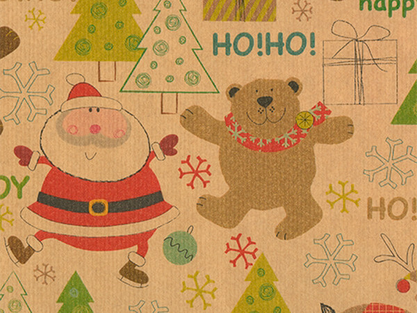 "Winter Fun  30"" x 417' Half Ream Gift Wrap (Kraft)"