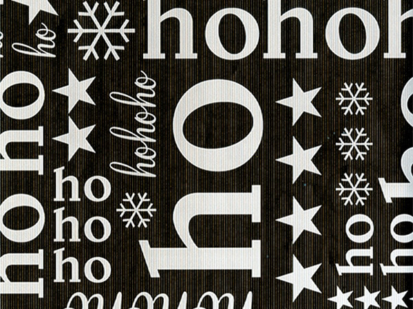 "Ho Ho Text  30"" x 417' Half Ream Roll Gift Wrap"