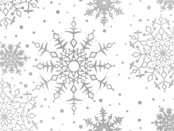 "White Snowflakes 18"" x 833' Full Ream Gift Wrap (Metallized)"