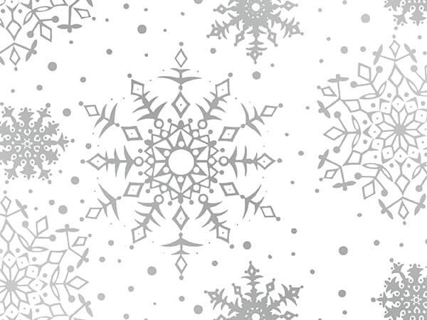 """White Snowflakes 24"""" x 417' Half Ream Gift Wrap (Metallized)"""