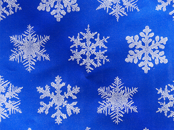 """Blue Snowflake Wrapping Paper 24"""" x 417', Half Ream Roll"""