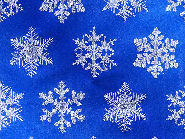 "Silver Snowflake on Blue 26"" x 417' Half Ream Gift Wrap (Foil)"