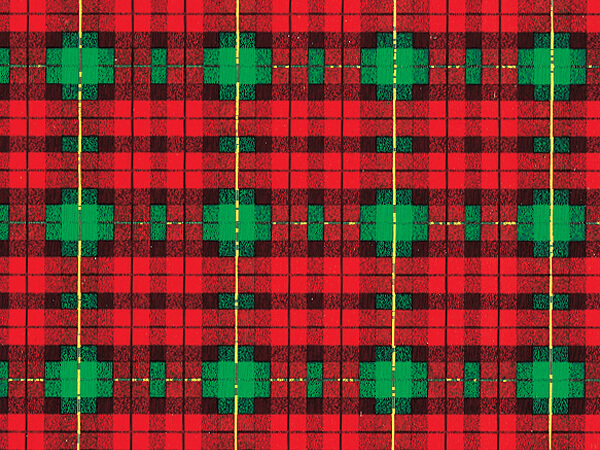"Old World Plaid  18"" x 417' Half Ream Gift Wrap (Metallized)"