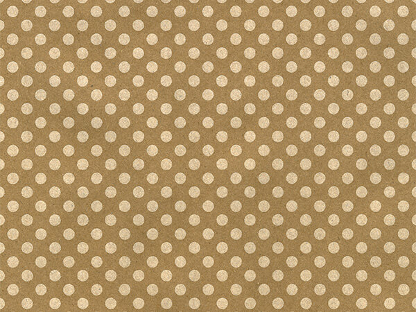 "White Polka Dot Kraft 18"" x 417' Half Ream Gift Wrap"
