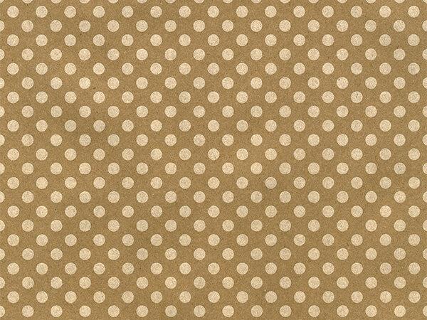 "White Polka Dot Kraft 24"" x 417' Half Ream Gift Wrap"
