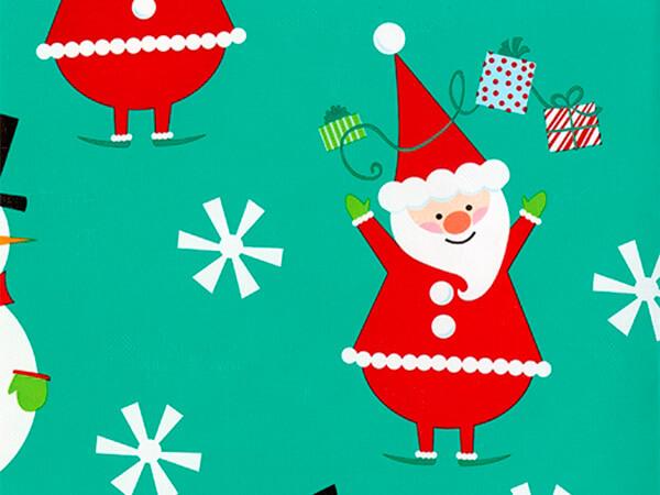 "Flakey Santa & Snowman  30"" x 417' Half Ream Roll Gift Wrap"