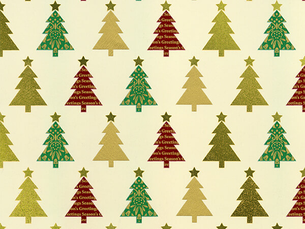 "Creamy Christmas Trees 26"" x 417' Half Ream Gift Wrap (Metallized)"