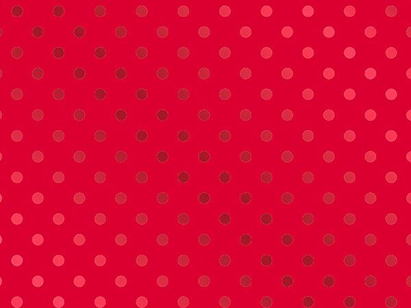 "Red on Red Polka Dot Metallized Gift Wrap, 26"" x 833', Full Ream"