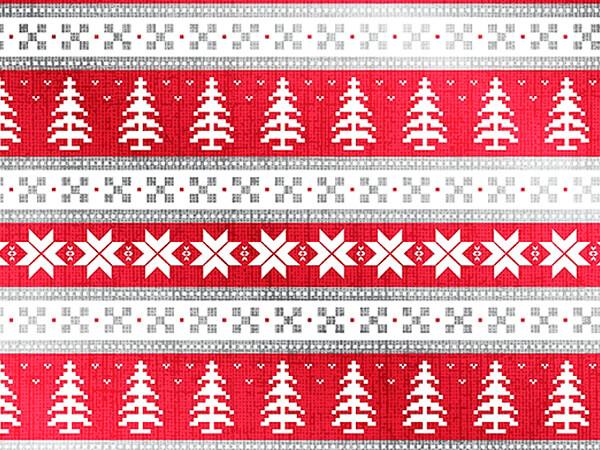 "Nordic Christmas Metallized Gift Wrap, 24"" x 417', Half Ream Roll"