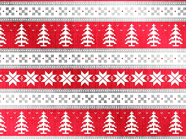 "Red and White Christmas 26""x 417' Half Ream Gift Wrap (Metallized)"