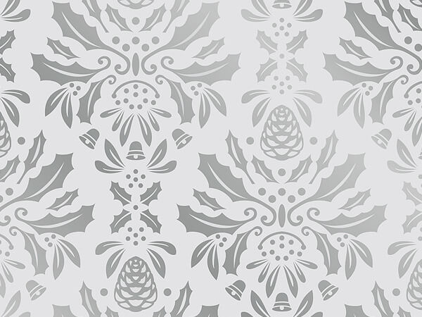 """Silver Damask Metallized Gift Wrap 26"""" x 417', Half Ream Roll"""