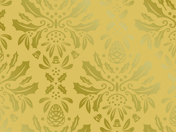 "Gold Damask  24"" x 833' Full Ream Gift Wrap (Metallized)"