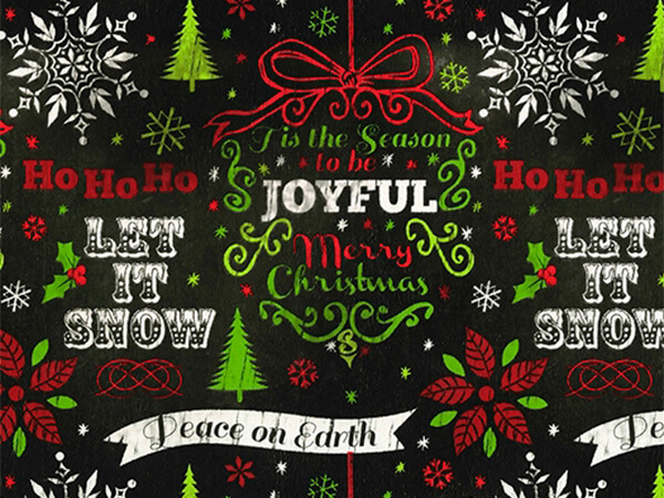 "Holiday Chalkboard  24"" x 833' Full Ream Roll Gift Wrap"