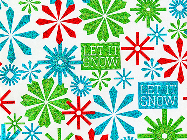 "Let It Snowflake  30"" x 417' Half Ream Gift Wrap (Metallized)"