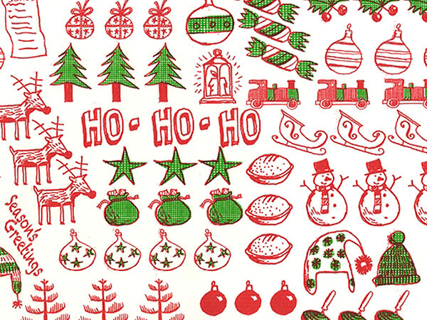 "Christmas Jumble  30"" x 417' Half Ream Roll Gift Wrap"