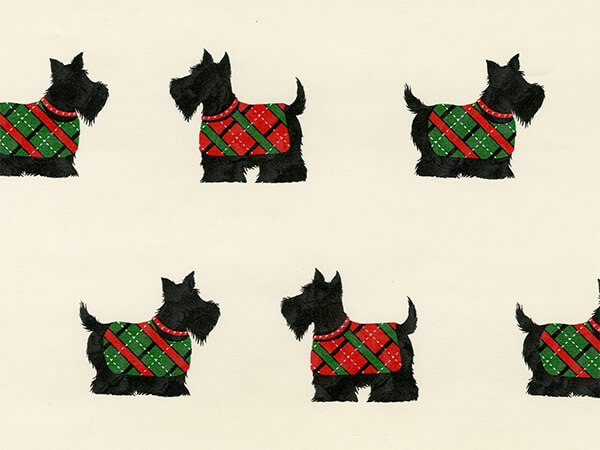 "Cream Scottie Dogs  24"" x 417' Half Ream Roll Gift Wrap"