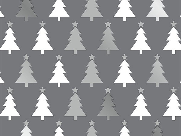 "Grey Creamy Trees  26"" x 417' Half Ream Gift Wrap (Metallized)"