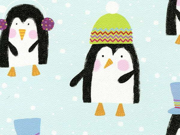 "Styling Penguins  18"" x 417' Half Ream Roll Gift Wrap"