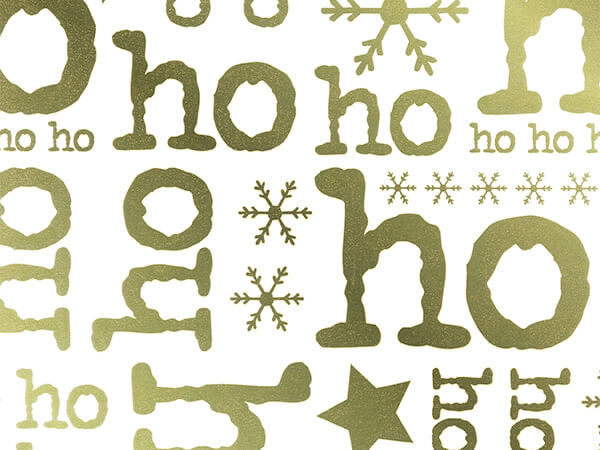 "Gold Ho Ho on White  26"" x 417' Half Ream Gift Wrap (Metallized)"