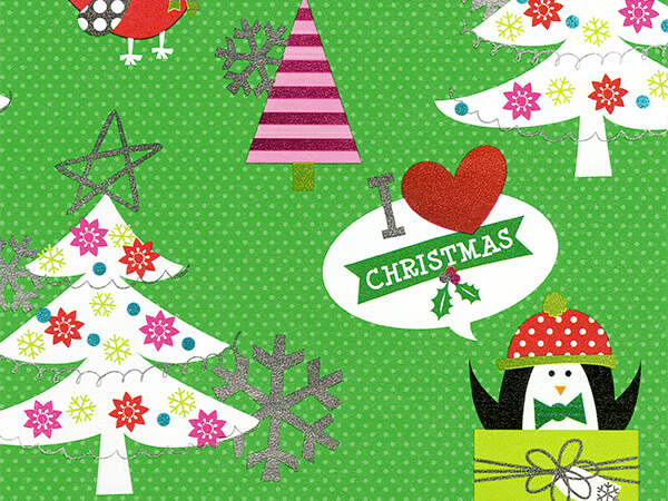 "I Love Christmas  30"" x 417' Half Ream Gift Wrap (Metallized)"